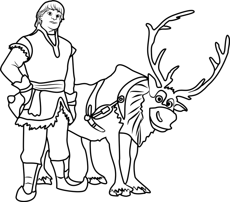 Click to see printable version of Kristoff y Sven Coloring page