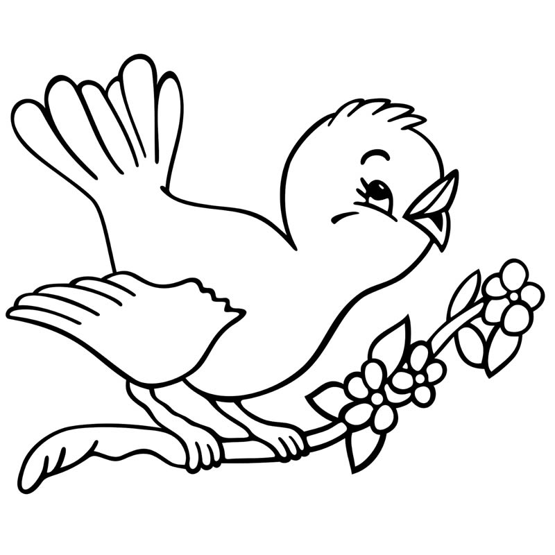 Click to see printable version of Pájaro En Rama Coloring page