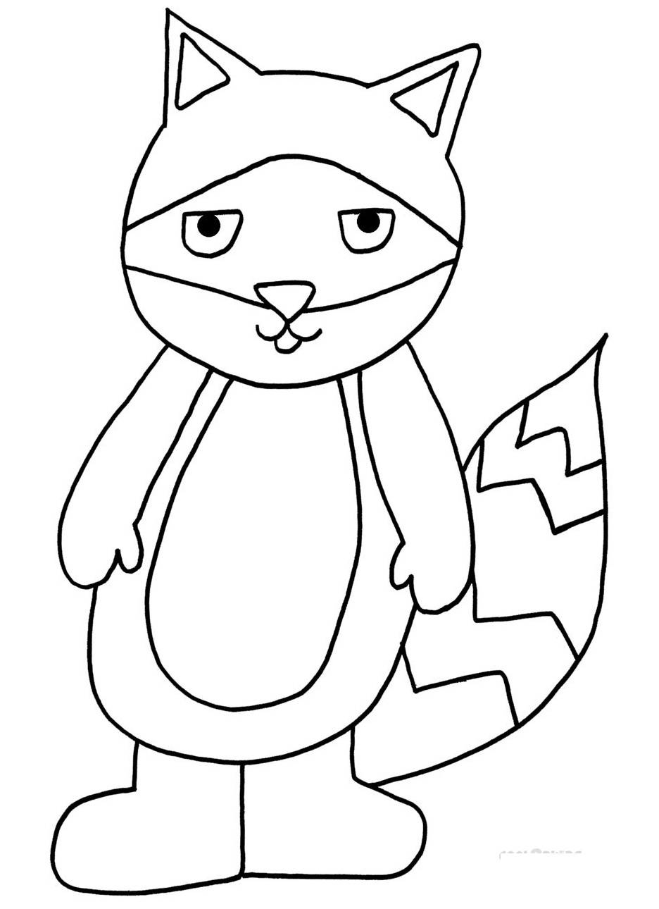 Click to see printable version of Mapache Hilarante Coloring page