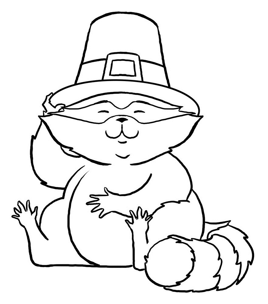Click to see printable version of Mapache con Sombrero Coloring page